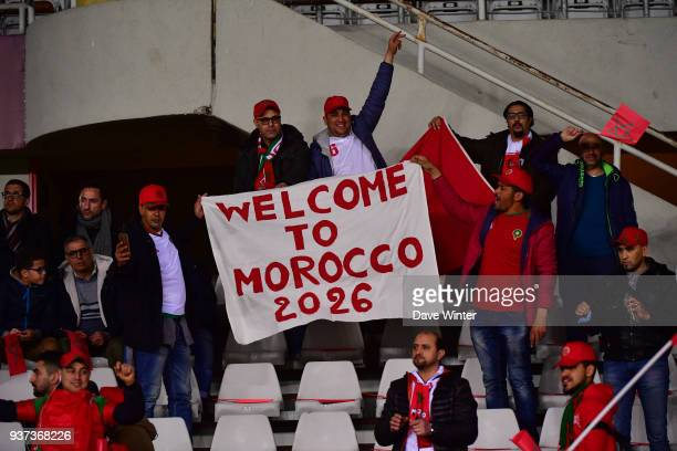 Morocco fans with a banner making reference to their 2026 World Cup bid during the international friendly match between Morocco and Serbia on March...