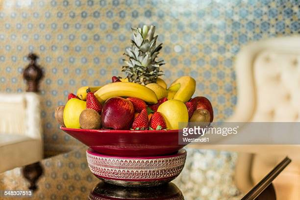 Morocco, Fes, Hotel Riad Fes, bowl with fruits in a hotel room
