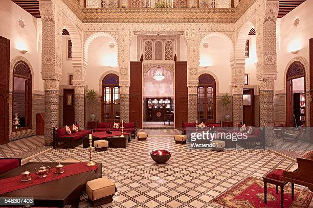 Morocco, Fes, Hotel Riad Fes, lighted entrance hall
