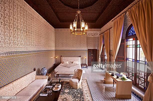 Morocco, Fes, saloon at Hotel Riad Fes