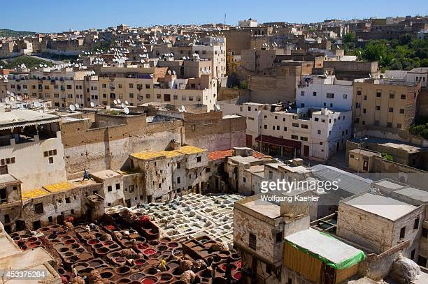 Morocco Fez Medina Overview Of Tanneries