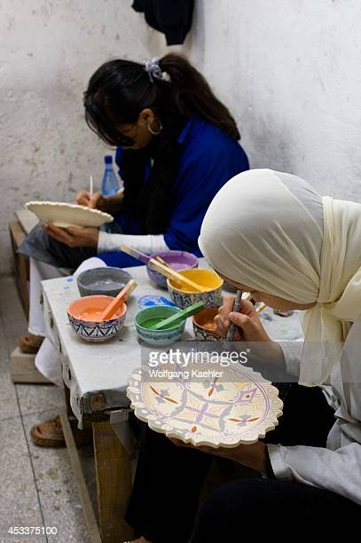 Morocco Fez Pottery District People Making Pottery And Ceramics