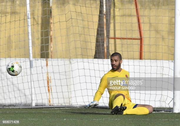 Morocco goalkeeper Laaroubi Zouhair concedes a goal during the CAF Champions league football match between Williamsville Athletic Club and Wydad...