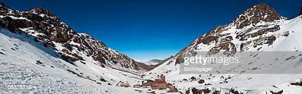 Morocco High Atlas mountains Mt Toubkal refuge winter panorama Africa