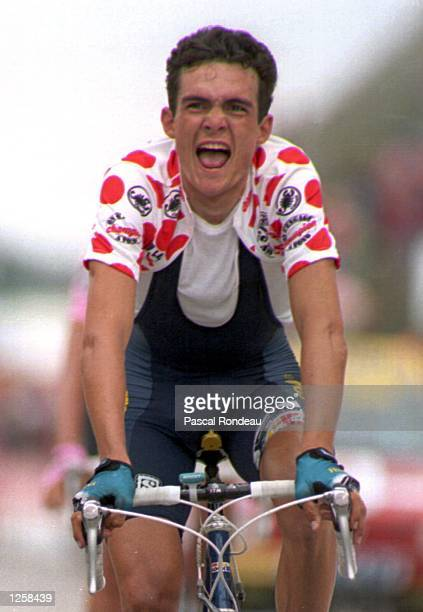 Morocco IN THE KING OF THE MOUNTAIN JERSEY AFTER WINNING THE BOURG D''OLISANS TO VAL THORENS STAGE 17 IN THE 1994 TOUR DE FRANCE Mandatory Credit...