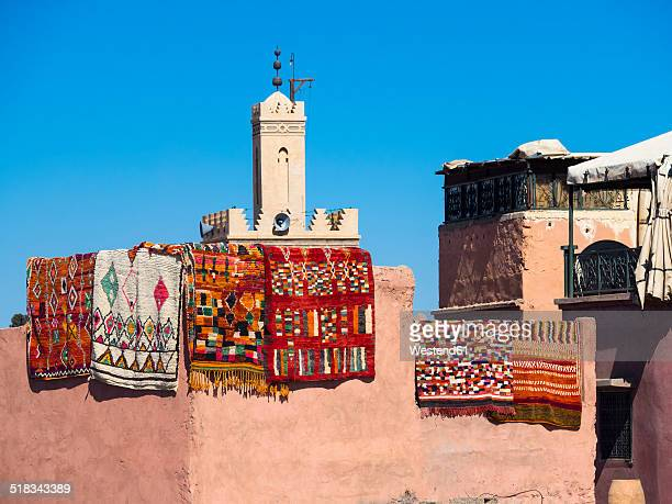Morocco, Marrakech, Carpets at the souq