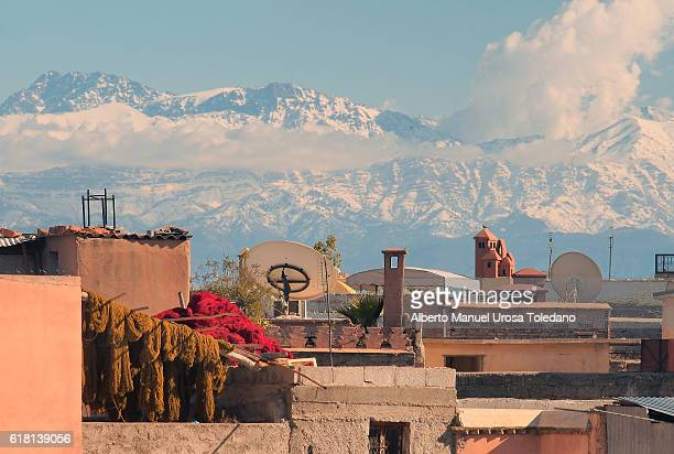 Morocco, Marrakech, Roof and Atlas Mountains