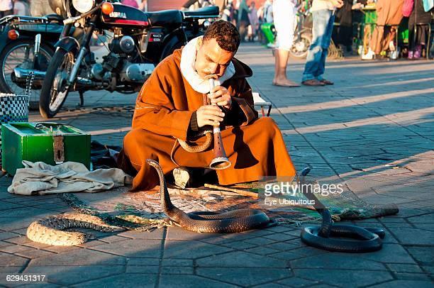 Morocco Marrakech Snake charmer in in Djemaa el Fna square