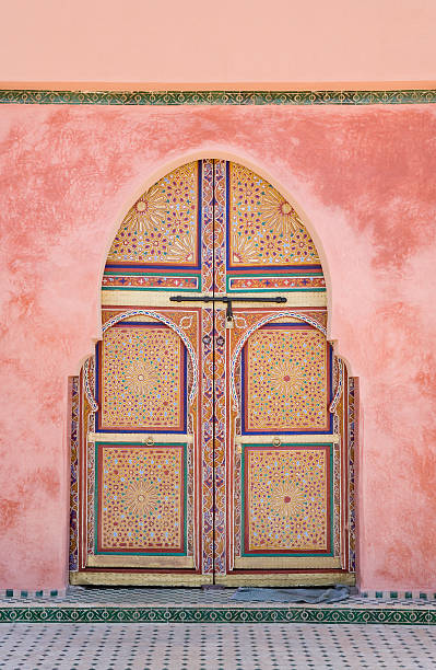 Morocco, Marrakesh, decorated arched door