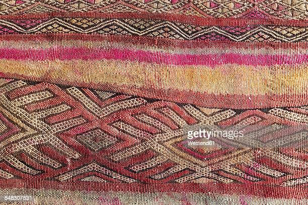 Morocco, Marrakesh, detail of a traditionally Moroccan carpet