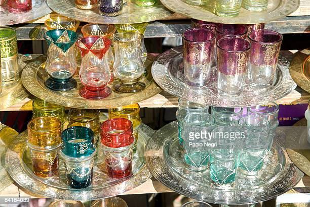 Morocco, Marrakesh mint tea glasses