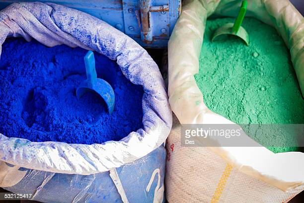 Morocco, Medina, Colored powders for textile dyes on streets