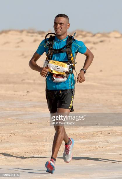 Morocco Mohamed elMorabity runs to win the first edition of the Ultra Mirage El Djerid marathon in the desert near the southwestern Tunisian city of...