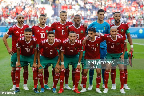 Morocco national team players pose for a photo during the 2018 FIFA World Cup Russia Group B match between Morocco and IR Iran on June 15 2018 at...
