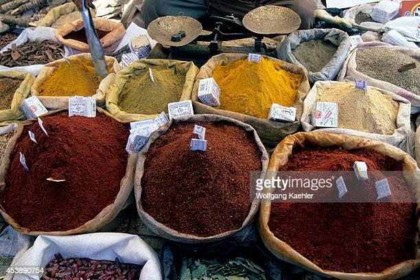 Morocco Near Marrakech Atlas Mountains Ourika Valley Market Spices For Sale