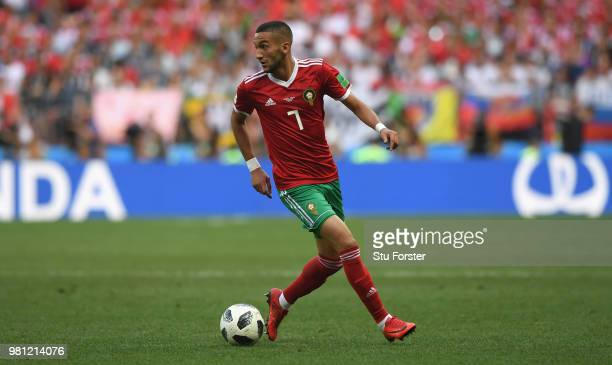 Morocco player Hakim Ziyach in action during the 2018 FIFA World Cup Russia group B match between Portugal and Morocco at Luzhniki Stadium on June 20...