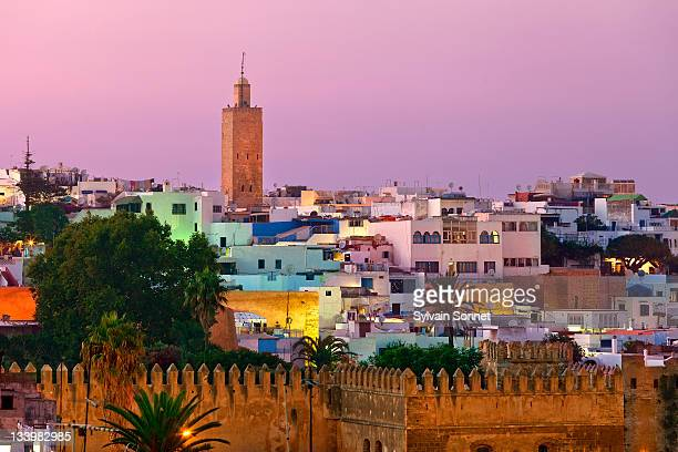morocco, rabat, kasbah of the udayas at dusk - rabat morocco stock pictures, royalty-free photos & images