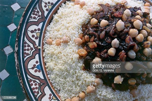 Morocco Region of SoussMassaDraâ Ouarzazate Couscous tfaja at the restaurant La Datte d'Or