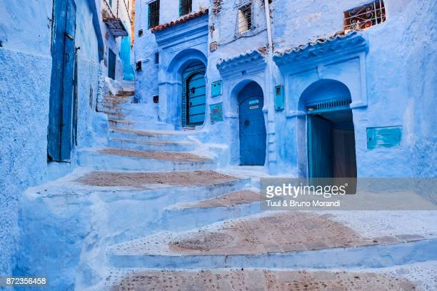 morocco, rif area, chefchaouen (chaouen) town, the blue city - chefchaouen photos et images de collection