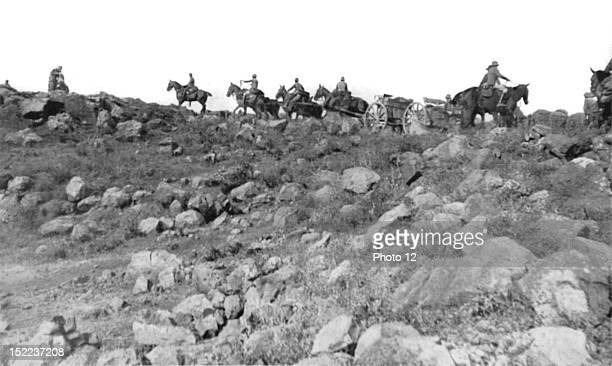 Morocco Rif War Spanish operations in the Melilla zone Spanish artillery going to take position on recaptured Mount Gurugu