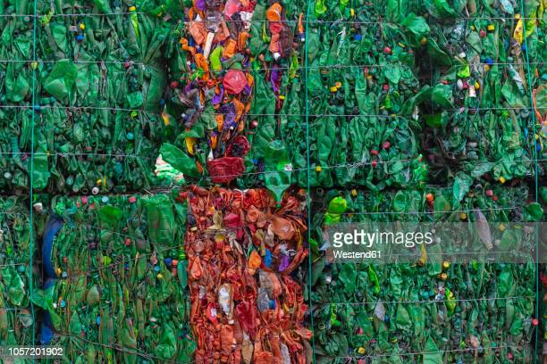 morocco, stacks of pressed plastic bottle - plastikmaterial stock-fotos und bilder