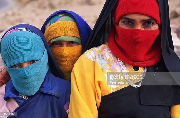 Morocco, Tafrout, group of Bedouin women wearing headscarves, portrait