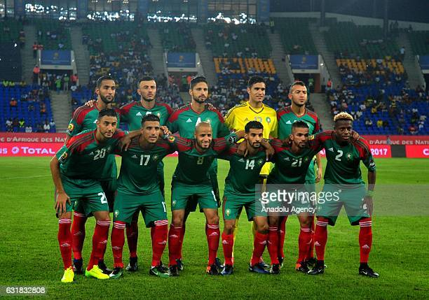 Morocco team players pose for a team photo during the African Cup of Nations 2017 Group C match between DR Congo and Morocco in Oyem Gabon on January...