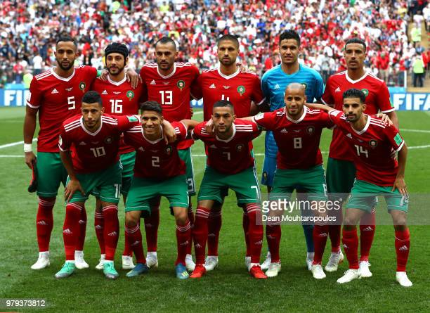 Morocco team pose prior to the 2018 FIFA World Cup Russia group B match between Portugal and Morocco at Luzhniki Stadium on June 20 2018 in Moscow...