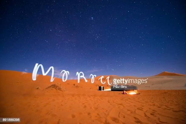 Morocco Text Created Through Light Painting Against Sky At Night, Sahara desert, Merzouga, Morocco