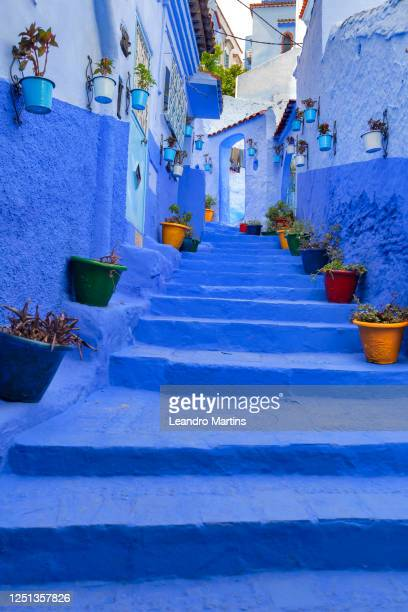 morocco - tourism - daily life - blue city - international landmark stock pictures, royalty-free photos & images