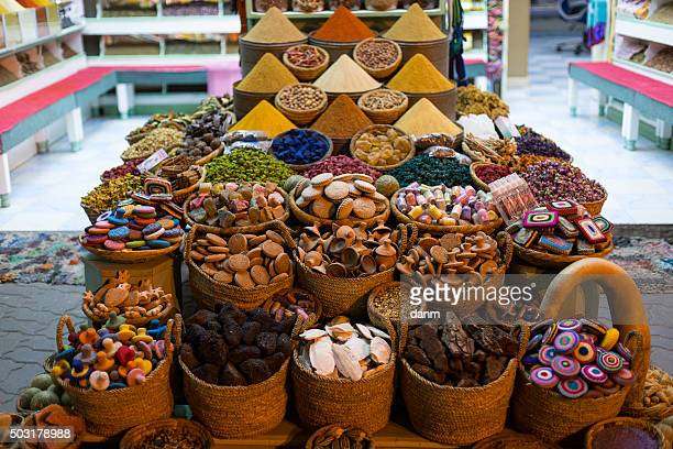 Morocco Traditional Market with condiments