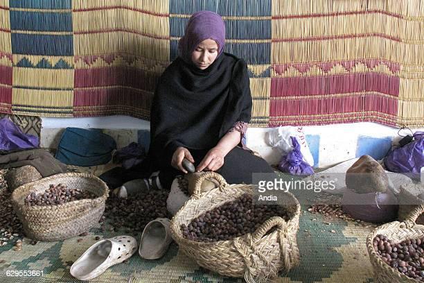 Morocco woman working in an argan oil cooperative near Essaouira