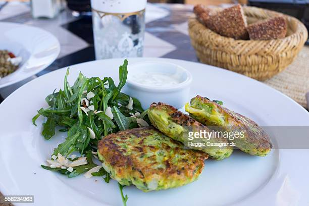 morocco zucchini fritters - fritter stock photos and pictures