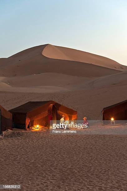 Morocco,Erg Chigaga sand dunes,Tourists for tent