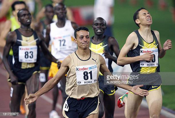 Morocco's Adil Kaouch celebrates after winning the Men's 1500m at the Athletics IAAF Golden Gala in Rome's Olympic Stadium, 13 July 2007. AFP PHOTO /...