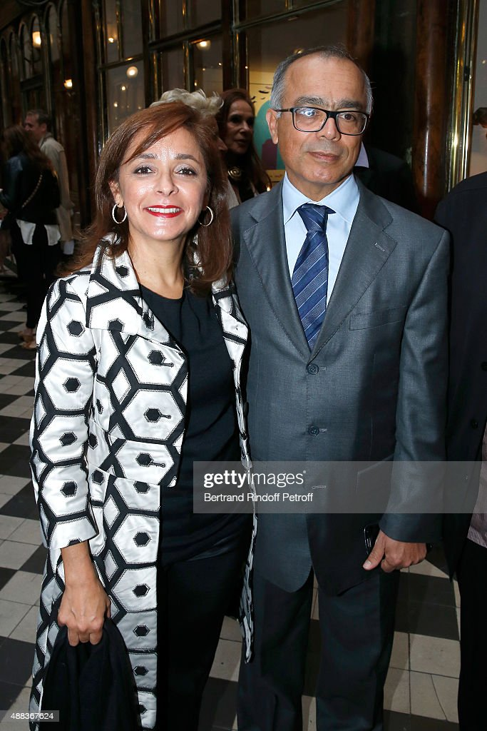 Morocco's ambassador in France Chakib Benmoussa and his wife attend the 'Paintings Poems from Tahar Ben Jelloun - Furniture Scriptures from C.Saccomanno & O.Dayot' : Press Preview at Galerie du Passage on September 15, 2015 in Paris, France.