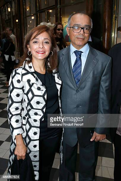 Morocco's ambassador in France Chakib Benmoussa and his wife attend the 'Paintings Poems from Tahar Ben Jelloun Furniture Scriptures from CSaccomanno...