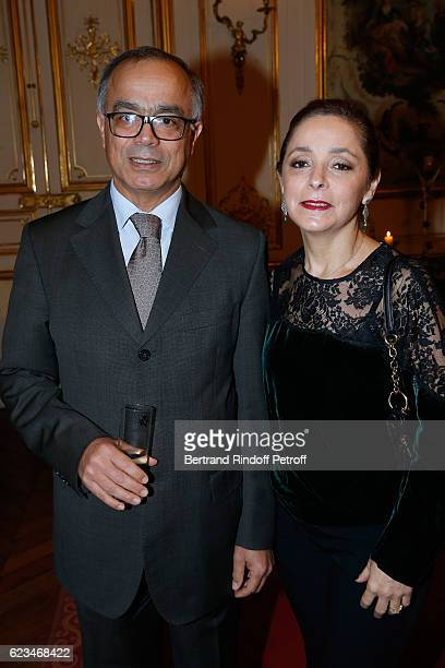 Morocco's ambassador in France Chakib Benmoussa and his wife MarieJoelle attend the Reception for the 'King of Belgians Day' at Belgium Ambassy on...