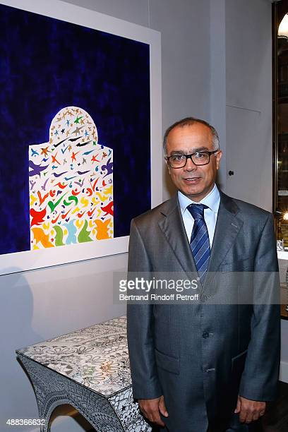 Morocco's ambassador in France Chakib Benmoussa attends the 'Paintings Poems from Tahar Ben Jelloun Furniture Scriptures from CSaccomanno ODayot'...