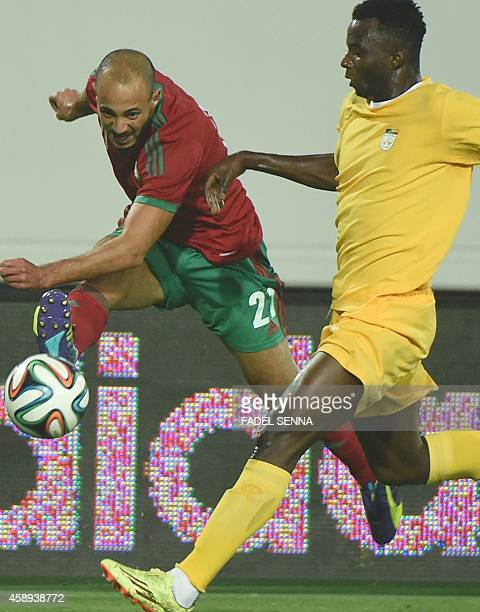 Morocco's Amrabet Noureddine vies for the ball during the friendly match Morocco vs Benin on November 13 2014 in Agadir AFP PHOTO / FADEL SENNA
