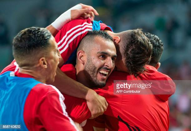Morocco's Boutaib Khalid celbrates a Goal during their FIFA world Cup 2018 Group C football match between Morocco and Gabon on October 7 at Mohammed...