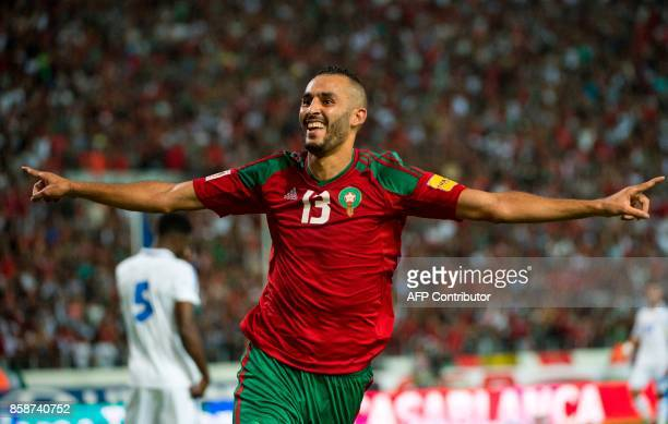 Morocco's Boutaib Khalid celebrates a goal during their FIFA world Cup 2018 Group C football match between Morocco and Gabon on October 7 at Mohammed...