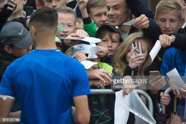 Morocco's defender Achraf Hakimi greets fans during a training session in Voronezh on June 13 ahead of the Russia 2018 World Cup football tournament