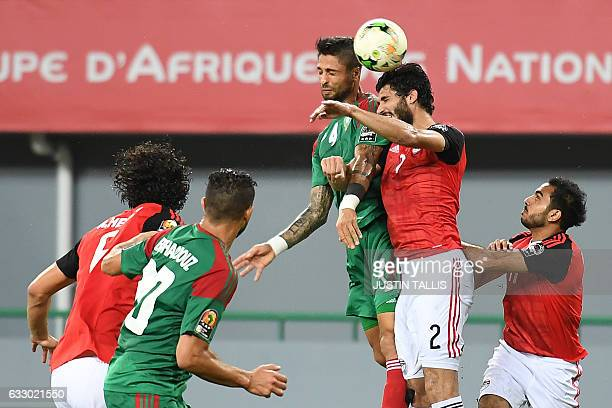 Morocco's defender Manuel Da Costa heads the ball with Egypt's defender Ali Gabr during the 2017 Africa Cup of Nations quarterfinal football match...