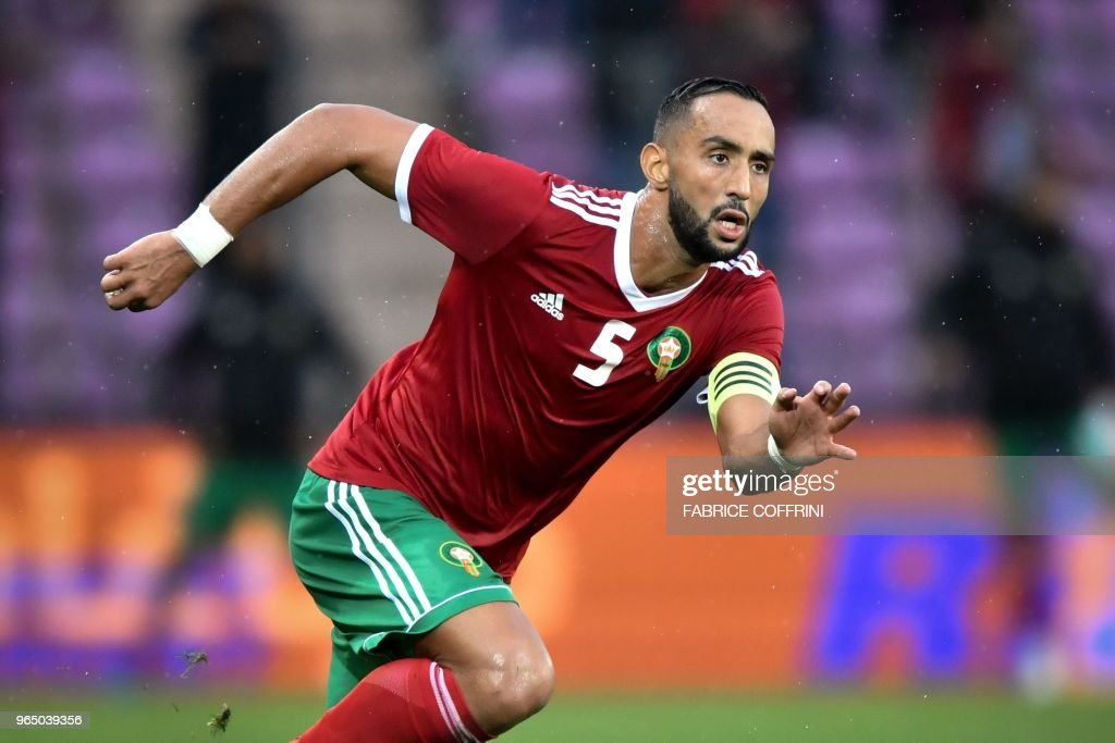 Morocco's defender Medhi Benatia reacts during the friendly football match between Morocco and Ukraine at the Stade de Geneve stadium in Geneva on May 31, 2018.