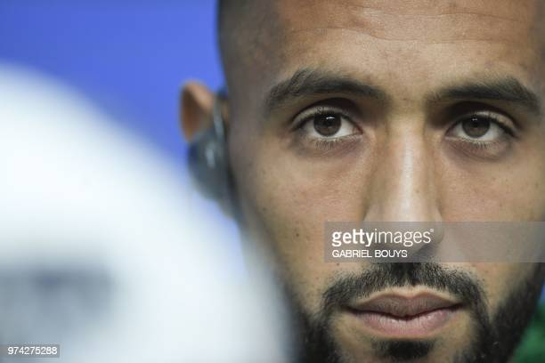 Morocco's defender Mehdi Benatia attends a press conference at Saint Petersburg Stadium on June 14 ahead of the Russia 2018 World Cup football game...