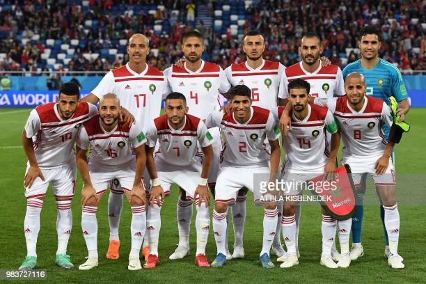 Morocco's defender Nabil Dirar, Morocco's defender Manuel Da Costa, Morocco's defender Romain Saiss, Morocco's forward Khalid Boutaib, Morocco's...