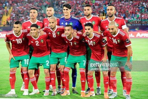 Morocco's defender Nabil Dirar Morocco's defender Romain Saiss Morocco's goalkeeper Yassine Bounou Morocco's forward Youssef EnNesyri Morocco's...