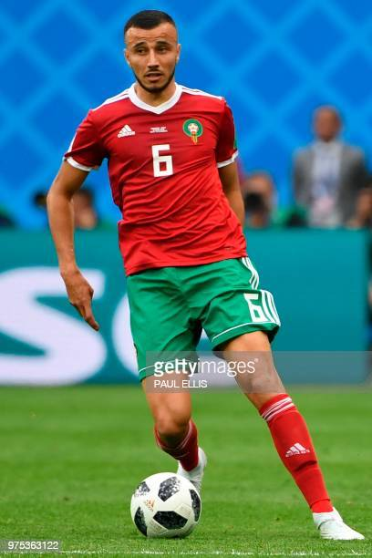 Morocco's defender Romain Saiss controls the ball during the Russia 2018 World Cup Group B football match between Morocco and Iran at the Saint...