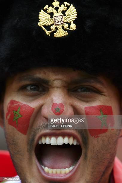 A Morocco's fan looks on prior to the Russia 2018 World Cup Group B football match between Portugal and Morocco at the Luzhniki Stadium in Moscow on...